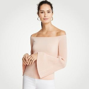 Ann Taylor Pleat Sleeve Off-the-Shoulder Sweater